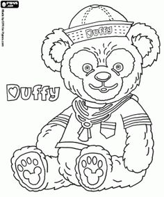 Duffy, the Disney Bear, a teddy bear or the plush bear in sailor suit coloring page
