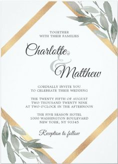 This elegant greenery botanical and Gold Wedding Invitation features deep green, sage color leaves, leaf, olive branches, foliage along with modern Faux gold foil Geometric frame in diamond shape. Over the back side of this wedding invite card has bride and groom monograms. It is part of a set collection with the same design style and color palette of wedding stationery that you can edit and personalize. Minimalist Wedding Invitations, Creative Wedding Invitations, Letterpress Wedding Invitations, Printable Wedding Invitations, Elegant Wedding Invitations, Wedding Stationery, Elegant Modern Wedding, Green Sage, Olive Branches
