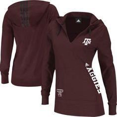 adidas Texas A Aggies Ladies Campus Intersect Hooded Long Sleeve T-Shirt - Maroon