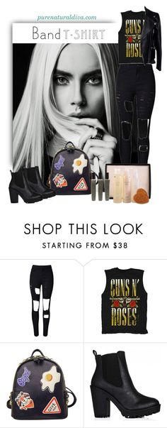 """I'm With the Band"" by purenaturaldiva ❤ liked on Polyvore featuring WithChic, Alexander McQueen, naturalbeauty, bandtshirt, bandtee, organicbeauty and purenaturaldiva"