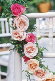 White and Gold Wedding. Fairy Tale Wedding: chair garland