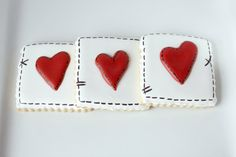 Valentine's Day Stitched Heart Decorated Cookies by Bakinginheels