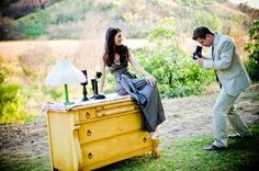 Furniture in a field!