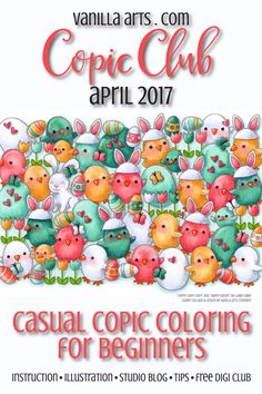 """Copic Club- Casual and beginner level coloring class, """"Where's Bunny?"""" a lesson on depth and dimension for beginning colorers. April 2017 