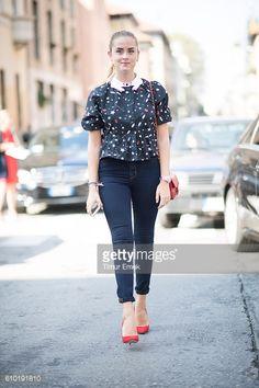 Valentina Ferragni seen during Milan Fashion Week Spring/Summer 2017 on September 24 2016 in Milan Italy