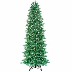 GE 7.5-ft Slim Aspen Fir Pre-Lite Artificial Christmas Tree with Clear Lights,