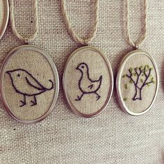 Embroidered pendants.....I love this.....so vintage...crystal you should so do this one!!!