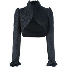 Dolce & Gabbana jacquard bolero (£1,625) ❤ liked on Polyvore featuring outerwear, jackets, black, short bolero jacket, short jacket, stand collar jacket, dolce gabbana jacket and bolero jacket