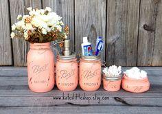 Mason Jar Bathroom Kit. Ball Mason Jars. Rustic by Kateslittleshop