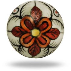 Trinca-Ferro Ceramic Gypsy Flower Knob In White And Red (£5.20) ❤ liked on Polyvore featuring home, home decor, decorative hardware, flower knobs, flower home decor, drawer pulls knobs, ceramic knobs and flower stem