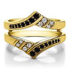 10k Gold Double Row Chevron Ring Enhancer with Black And White Diamonds (G-H,I2-I3) (0.42 ct.)