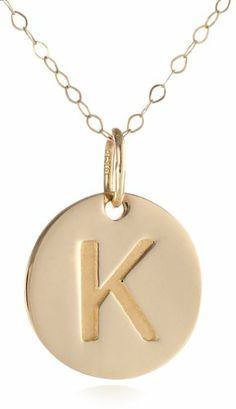 """Amazon.com: Duragold 14k Yellow Gold Disc Initial """"M"""" Pendant Necklace, 18"""": Jewelry"""