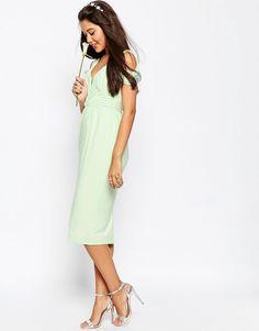 Image 4 ofASOS Drape Cold Shoulder Midi Pencil Dress
