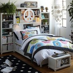 small bedroom space saver- I like the storage space idea of this