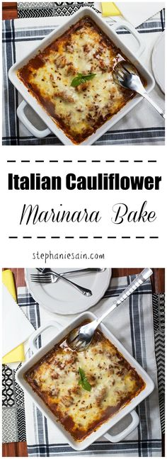 Italian Cauliflower Marinara Bake tastes just like your traditional Italian dishes only without all the carbs. Easy to prepare and the perfect family friendly meal. Vegetarian and Gluten Free.