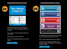 Custom Social Media Business Cards and Window Clings - Buy Yours Today! http://getkdm.com/shop/