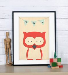 Retro poster - owl, forest animals - vintage print, A4, nursery wall decoration, retro wall decor, cute baby animal