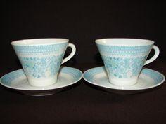 Arabia Finland Elisabet 2 Teal Coffee Tea Cups Saucers Uosikkinen Mid Century | eBay