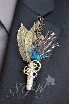 Steampunk Gears Blue Feather Mens Wedding Boutonniere - Unique Alternative Boutonniere