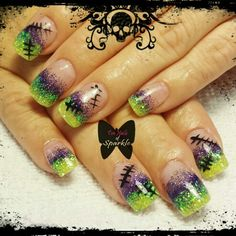 Frankenstein sculpted Halloween acrylic nails.
