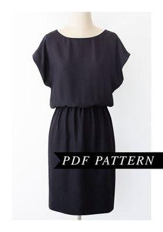 Easy Short Sleeved Dress Pattern - Elastic Waist, Short Kimono Sleeve