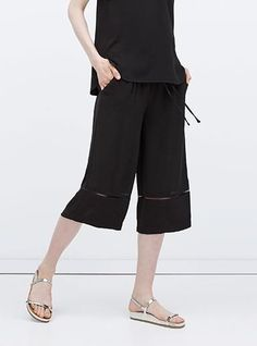 Women's Cropped Wide Legged Pants - Solid Black / Elasticized Waist