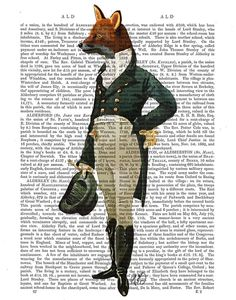 The Dandy Fox Illustration on recycled vintage Dictionary Page, Upcycled Dictionary book page Art Print wall art fox picture fox painting