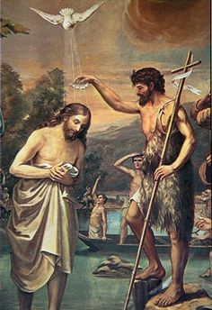 John the Baptist and Jesus Pictures Of Jesus Christ, Bible Pictures, Christian Artwork, Christian Images, Religious Images, Religious Art, Image Jesus, Baptism Of Christ, Jesus Mother