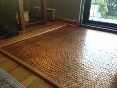 Penny Floor Template Penny Template DIY Penny Floor penny floor penny project floor of pennies Penny Floor, Diy Flooring, Wood Floor Lamp, Metallic Epoxy Floor, Flooring, Entryway Flooring, Patio Flooring, Penny Tile, Diy Wood Floors