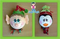 Yanny´s Crafts: Esferas Navideñas (Creación Original) Disney Ornaments, Christmas Ornaments To Make, Christmas Items, Christmas Elf, Christmas Projects, Holiday Crafts, Christmas Bulbs, Christmas Decorations, Light Bulb Crafts