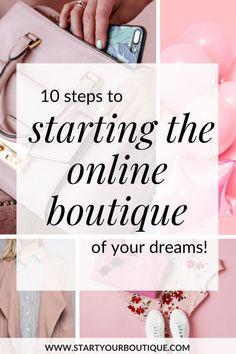 """How to start an online boutique in just 10 steps. Click through to get a """"starting an online boutique"""" checklist with 10 essential steps on how to start a clothing boutique and find wholesale boutique clothes. - March 11 2019 at Starting An Online Boutique, Selling Online, Boutique Names, Boutique Ideas, Boutique Shop, Opening A Boutique, Branding, Online Clothing Boutiques, Starting Your Own Business"""