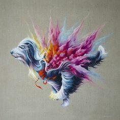 Ewa Prończuk-Kuziak's Colorful Paintings of Woven Animals