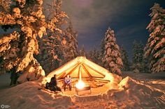 "Lapland, Finland. Wind shelter formed like a half of a ""kota"", the traditional tipi for Sami people."