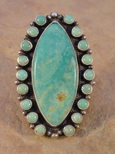 Dean Brown Navajo Sterling Silver & Turquoise Cluster Ring sz. 9 1/2