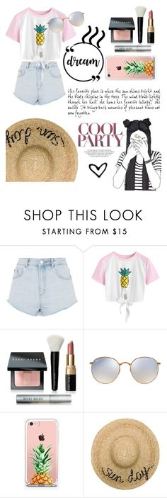"""""""pineapple cutese"""" by vanillabean224 ❤ liked on Polyvore featuring Topshop, WithChic, Bobbi Brown Cosmetics, Ray-Ban, The Casery and Eugenia Kim"""