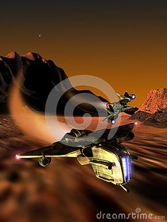 Flying race between two spaceships over the planet Mars. Satellite Phobos is visible far up in the sky.