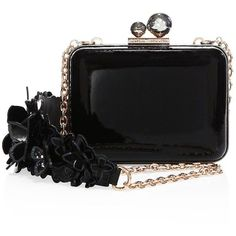 Sophia Webster Vivi Butterfly Patent Leather Clutch ($625) ❤ liked on Polyvore featuring bags, handbags, clutches, purses, apparel & accessories, black, patent leather purse, chain strap handbag, patent leather clutches and sophia webster