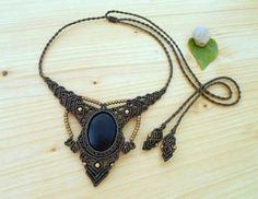 Black onyx macrame necklace macrame jewelry hippie necklace
