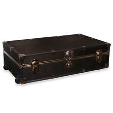 Underbed Trunk,  has wheels for easy transporting. Trunk has a 15 pound capacity and measures 30 3/4 W x 18 L x 8 H.