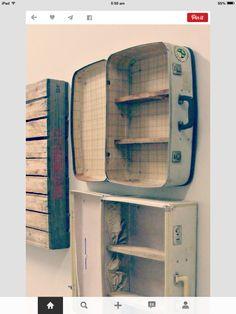 Vintage suitcase bookshelf