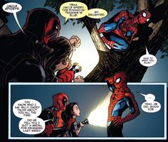 Spider-Man/Deadpool Wade introduces his daughter to Peter so cute! - Funny Nerd Shirts - Ideas of Funny Nerd Shirts - Spider-Man/Deadpool Wade introduces his daughter to Peter so cute! Marvel Dc Comics, Marvel Heroes, Marvel Avengers, Owlturd Comics, Marvel Funny, Marvel Art, Funny Comics, Deadpool Love, Deadpool X Spiderman