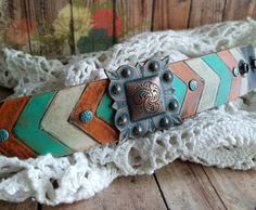 Silver Concho Leather Cuff Bracelet> #Hand-madeLeather #Copper #Turquoise Orange #Chevron #Rustic #Cowgirl #CountryChic #Boho #Earthy by BellaNotteDesigns on Etsy