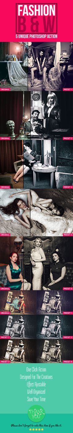 Fashion B & W — Photoshop ATN #elegant black #dark • Available here → https://graphicriver.net/item/fashion-b-w/16800392?ref=pxcr