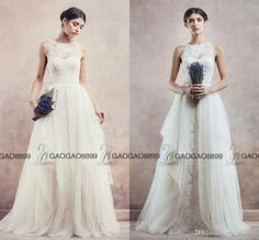 2017 Divine Atelier Wedding Gowns With A Detachable Skirt Lace Tulle Princess Tiered Skirts Garden Country Cheap Bridal Wedding Dresses Bridal Dress Designers Bridal Gowns Uk From Gaogao8899, $130.66| Dhgate.Com