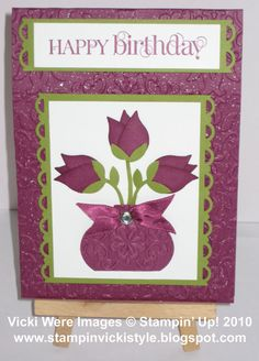 Stamping and Scrapping with Vicki: Stampin' Up! Two Step Bird Punch - Flowers in a Vase
