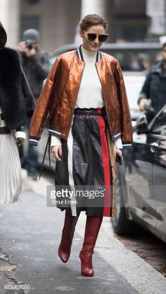 Olivia Palermo seen after the Salvatore Ferragamo Fashion Show in the streets of Milan during Milan Fashion Week Fall/Winter 2018/19 on February 24...