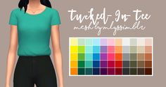 "icemintbows:  "" Tucked-In-Tee Recolored by IceMintBows "" Of course, 14 solid swatches just wasn't enough, so I added 55 more colors in @wildlyminiaturesandwich 's ""Sandwich Colors Palette"". Everything is properly color tagged, disabled for random, and..."