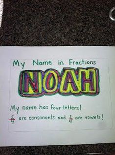 Using your name to teach fractions -- Did this with poster board.  Kids wrote their names fancy in black crayon and then watercolored over it.  On the back, Billy did what was in the picture with vowels and consonants.  Kids liked them so much we laminated and turned them into signs for their doors.