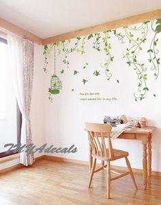 Nursery decal Vinyl Wall Decal Nature Design Tree Wall Decals chrildren's wall decals Wallstickers , wall decals :vines. $59.00, via Etsy.