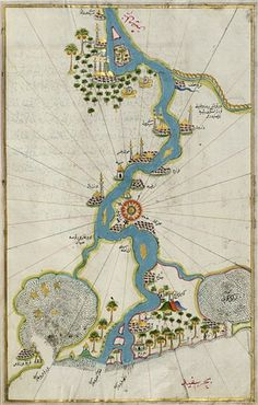 Map of the River Nile from its Estuary South to Cairo, 1525